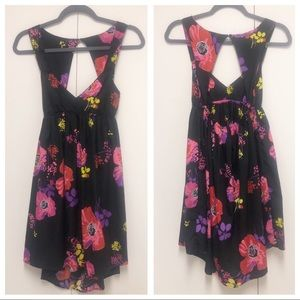 Roxy Black Dress with Colorful Floral Design Small